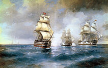 450px-Aivazovsky, Brig Mercury Attacked by Two Turkish Ships 1892