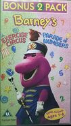 Barney's Excercise Circuls & Parade of Numbers 1997 UK VHS Cover