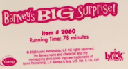 Barney's BIG Surprise! 2000 Label (Newer Style Label)
