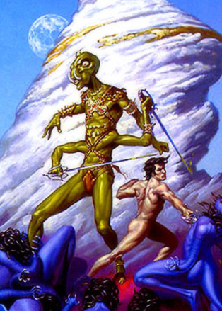 Tars Tarkas helps John Carter in his fight against the Plant Men of the Valley Dor, at the end of the River Iss; art by Michael Whelan