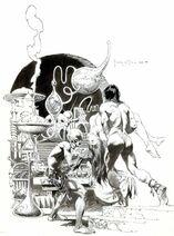 Original Frontpiece Illustration by Frank Frazetta of Ras Thavas