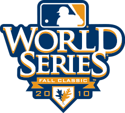 "The words ""World Series"" above the text ""2010 Fall Classic"" with the logo of Major League Baseball."