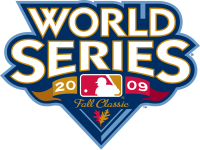"""The words """"World Series"""" above the text """"2009 Fall Classic"""" with the logo of Major League Baseball."""
