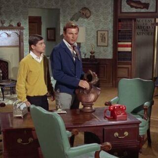 Bruce y Dick accediendo al pasadizo hacia la Batcueva