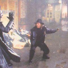 A diferencia de la versión final de esta película Bob si peleaba contra Batman