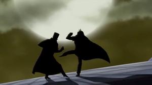 Batman y el Destripador pelean arriba de un zepelín
