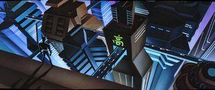 Batman Beyond - S02 E06 - Bloodsport - Batman in Neo Gotham City Panorama