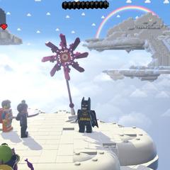 Batman, Emmet, Estilo-Libre y Vitruvius en el juego.