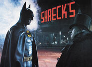 Batman meets Penguin outside Shreck's