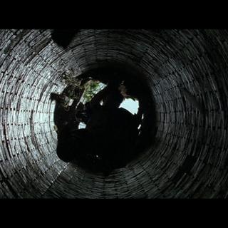 Bruce cayendo al pozo.