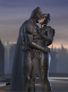 Batman and Catwoman sharing a kiss