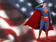 Superman saluting flag