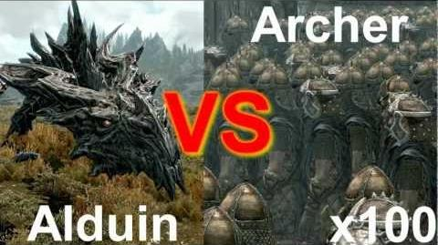Skyrim Arena 100 Archers vs Alduin
