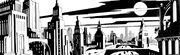 Gotham City concept art by Richie Chavez