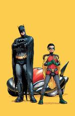 Dick Grayson e Damian Wayne como Batman e Robin