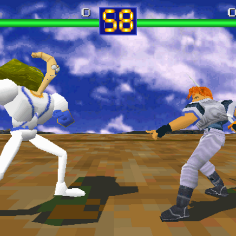 Earthworm Jim vs Kayin in <i>Battle Arena Toshinden</i>