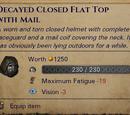 Гнилой закрытый плоский шлем с кольчужным подшлемником