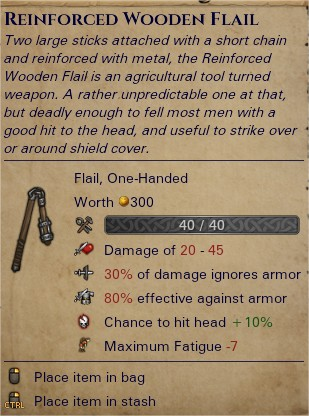 Reinforced wooden flail 0