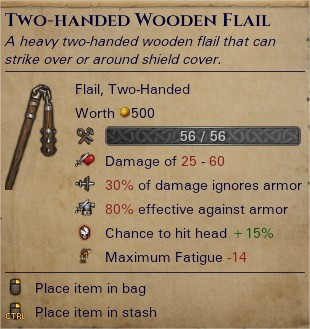 Two-handed wooden flail 0