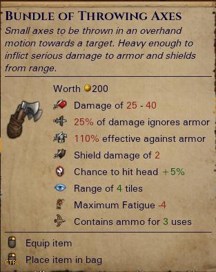Throwing axes