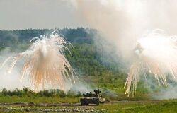 RU tank smoke