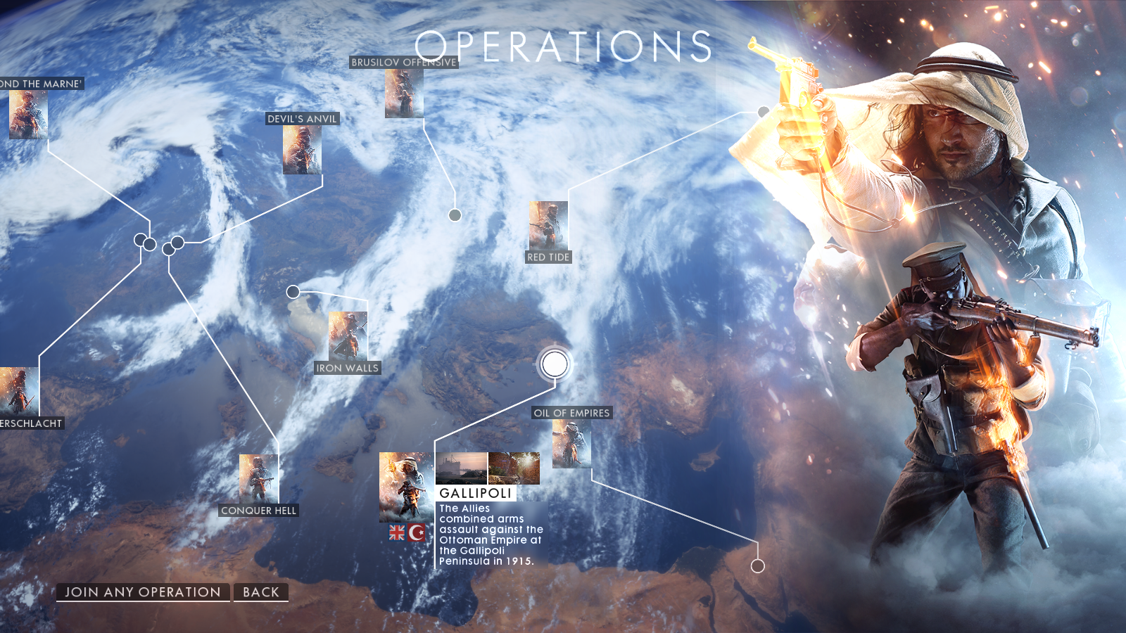 Operations menu as of the release of
