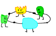 Grassy holding hands with Firey, Leafy, and Bubble