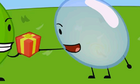 Bubble accepting a gift from Leafy