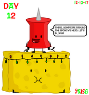 The 24 Days of Christmas Day 12 Pin puts lights around Spongy's Head while Pin holding the lights