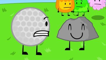 Golfball and rock