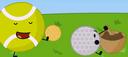 Tennisball and golfball