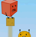 Blocky pushing Coiny off the platform
