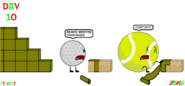 The 24 Days of Christmas Day 10 Golfball talked to Tennis Ball that must wrapping some boxes but Tennis Ball can't do it