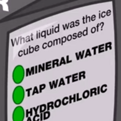 What liquid was the ice cube composed of?