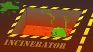 Gelatin being incinerated