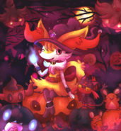 Witch braixen in pumpkin forest by kiwibeagle-damud01