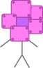 Robot Flower with a purple face