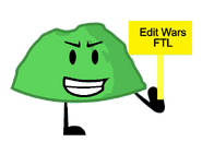 Green Rocky holds the Edit Wars FTL sign