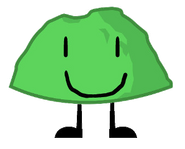 Green Rocky with a drawn face