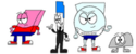 Eraser, Pen, Snowball, and Rocky from BFDI