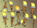 A Bunch Of BFB Paintbrush Poses