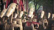Battle droids and security droids prepare for battle