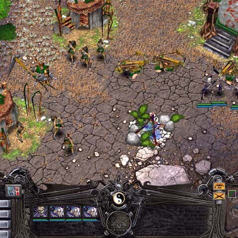 Alpha screenshot, showing the different game design and baskets on the peasants' backs.|