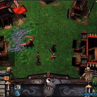 Beta Screenshot showing Ronin who brandished violet-glowing Yin Blades with BG icon oddly showing blue-glowing sword, later used for Samurai's Yang Blade