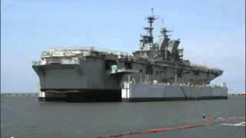 Multi-Purpose Amphibious Assault Ship USS America (LHA 6) launch. Ingalls Shipbuilding