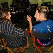 Alexandra Daddario and Zac Efron on set