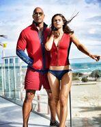 Dwayne Johnson onset with Alexandra Daddario
