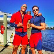 Dwayne Johnson with Zac Efron