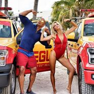 Dwayne Johnson onset with Kelly Rohrbach