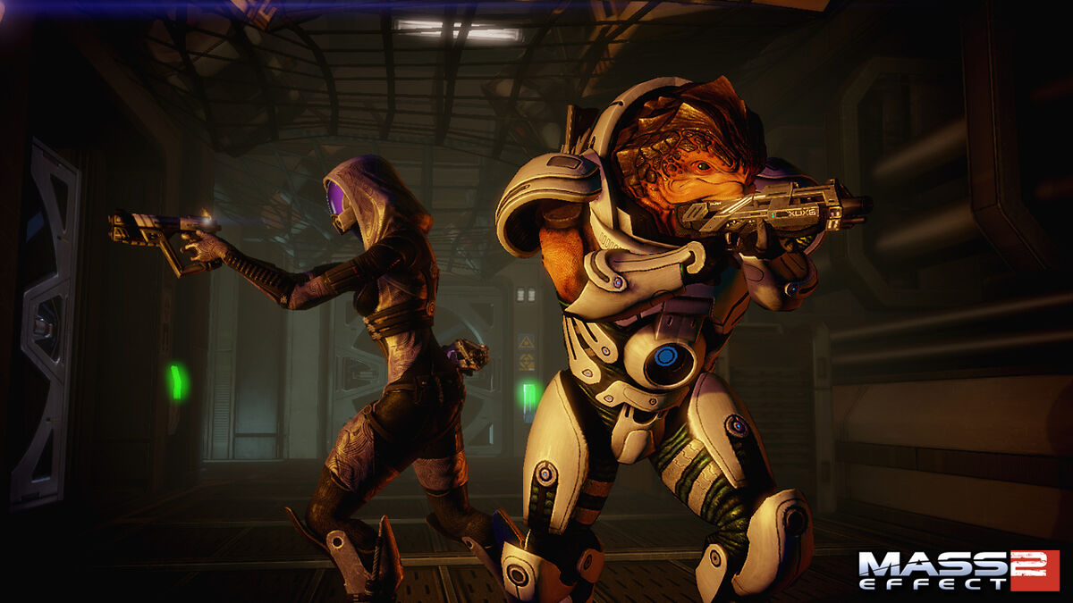 Tali and Grunt on a mission in Mass Effect 2